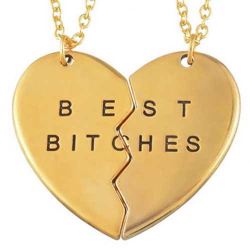 Best bitches vriendschapskettingen voor twee goudkleurig