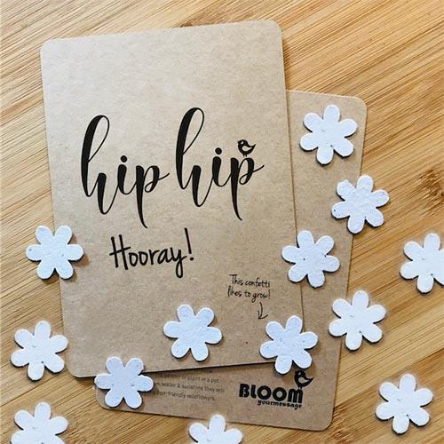 Hip Hip Hooray veldbloemen zaadjes confetti kaartje