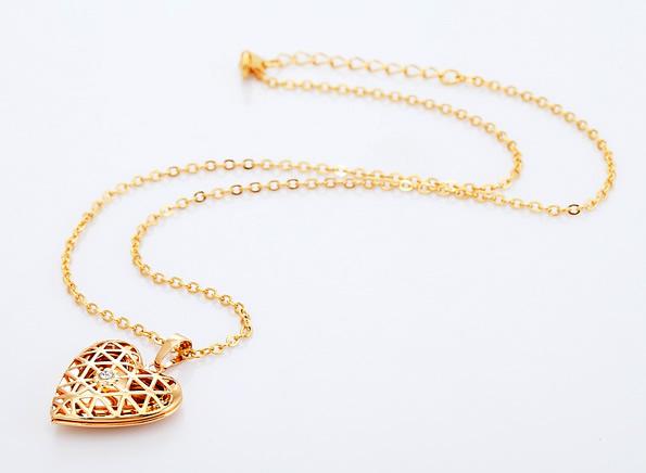 18K goud verguld open hart medaillon met ketting