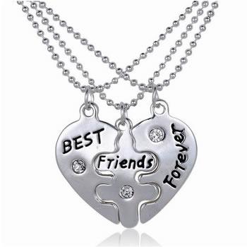Best Friends Forever Kettingen Met Steentje Voor 3 Vriendschapshartje